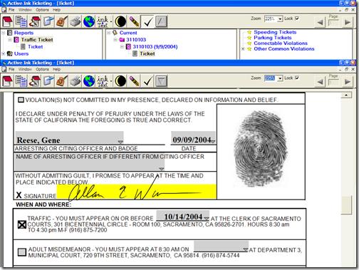 Signature and fingerprint